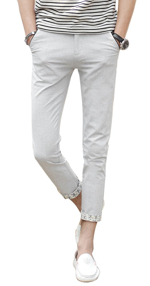 Plaid&Plain Men's Lightweight Summer Pants Cropped Pants Men's Slim Fit Pants 9981LightGrey 31