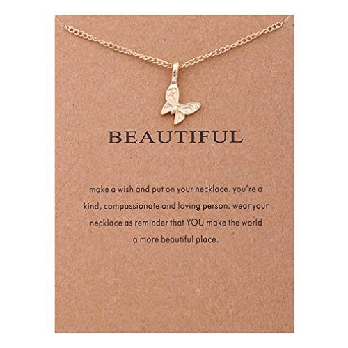 CHASIROMA Card Necklace Butterfly Lucky Pendant Chain Necklace with Meaning Card - Journey Heart Pendant Necklace