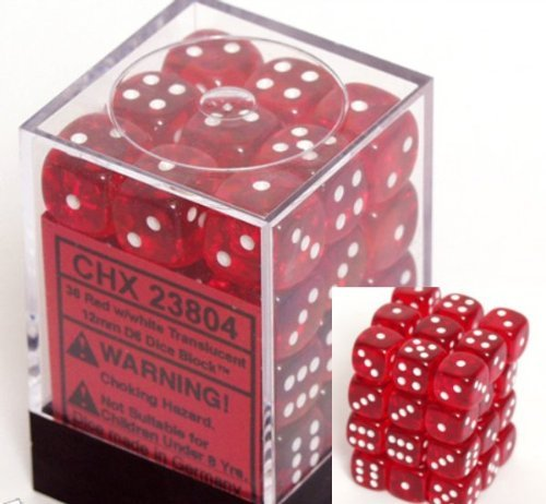 Chessex Dice d6 Sets: Red with White Translucent - 12mm Six Sided Die (36) Block of Dice by Chessex