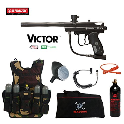 MAddog Spyder Victor Lieutenant Tactical Camo Vest Paintball Gun Package - Black