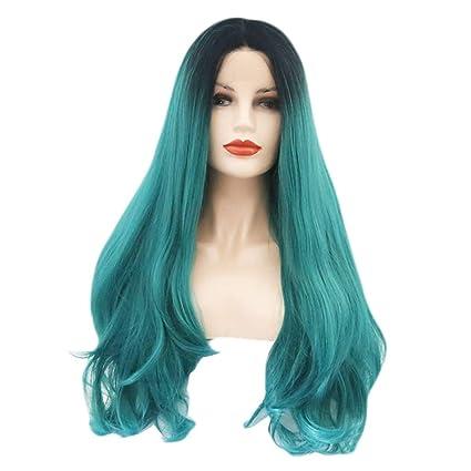 JYA SILK Peluca, Verde Oscuro Gradiente Chinos Moda Mujer Largo Cabello Hembra Cordón Peluquín (
