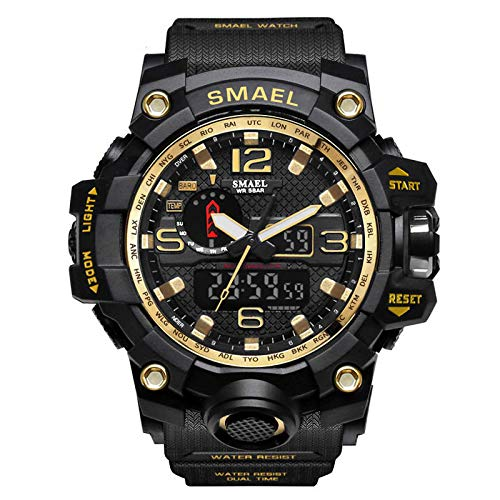 (XBKPLO Mens Sport Watch,Multifunction Dual Display Waterproof Military Analog Digital LED Electronic Wrist Watches Silicone Strap (Gold))