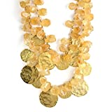 KENNETH JAY LANE-2 ROW HAMMERED GOLD DISC WITH CITRINE BEADS ACCENTS-GORGEOUS!!