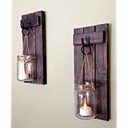 """Rustic Wall Decor, Wall Sconce, Rustic Wall Sconce, Candle Holder, Rustic Wooden Candle Holder, Black Set Of Two, 12""""x5"""", in Weathered Black!"""