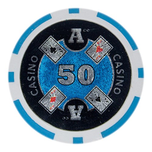 Brybelly Ace Casino Poker Chip Heavyweight 14-gram Clay Composite - Pack of 50 ($50 Light Blue) ()