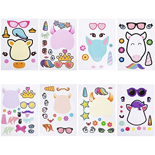 24 Make A Unicorn Stickers, Unicorn Party favors, Fun Craft Project for Kids Birthday Christmas Unicorn Party, Let Your Kids Creative & Design Their Favorite Cartoon Characters (8 Different Patterns) -