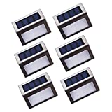 [Upgraded 3 LED] HKYH Newest 6 Pack 3 LED Solar Bright Step Light Stairs Pathway Deck Garden Lamps Stainless Steel Wall Yard Outdoor Illuminates Patio Lamps