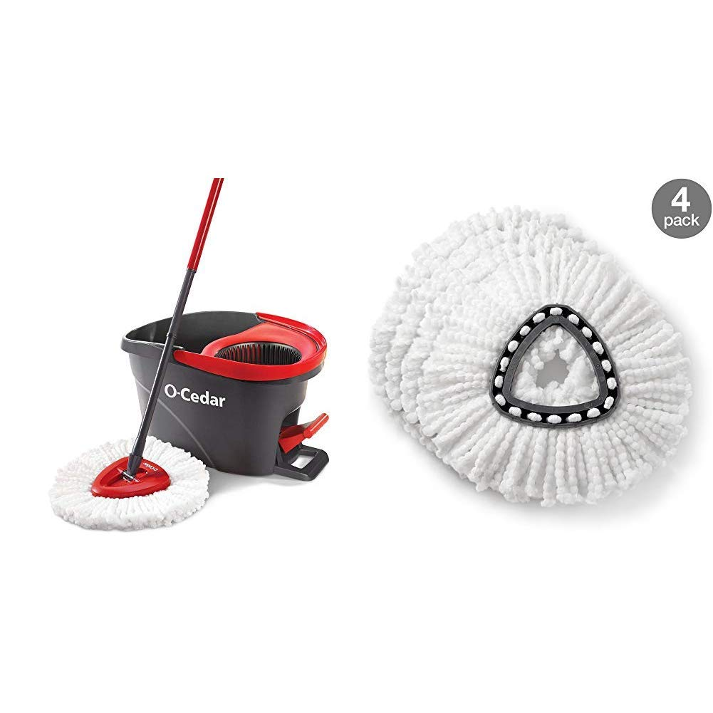 O-Cedar EasyWring Microfiber Spin Mop, Bucket Floor Cleaning System &  EasyWring Spin Mop Refill (Pack of 4)