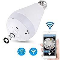 Security Camera Bulb System - Haphome (2017 New Design), Wireless Home Security IP Camera Light Bulb System, 360 Degree Fisheye Lens Wifi Video Digital Security Camera (White)
