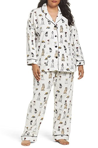 P.J. Salvage 2X Plus Size Playful Print Flannel Pajama Set (Ivory/Dogs) ()