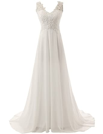 YanLian Elegant V-neck A-line Lace Chiffon Long Beach Wedding Dress Ivory US2