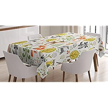 Superbe ... Forest Animals Trees Birds Owls Fox Bunny Deer Raccoon Mushroom Home  And Party Decorations, Dining Room Kitchen Rectangular Table Cover, 60 X 84  Inches,
