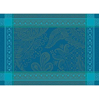Garnier-Thiebaut Set of 4 Isaphire Emeraude Placemats, 21  x 15 , Green Sweet Treated, High Thread Count, Made in France