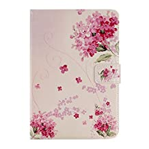 Apple iPad Air 2 iPad 6 Case Funyye Ultra Thin Magnetic Close Detachable Flip Folio Book Style Type Standing With [Beautiful Pink Floral] Pattern Premium PU Leather Soft TPU Bumper Edge Case Cover [with Free Touch Pen]