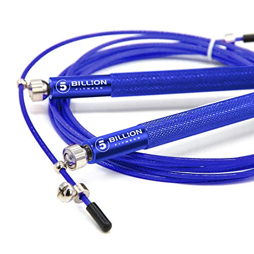 5BILLION Speed Jump Rope - 360° Swivel Ball Bearing - Adjustable - Workout for Double Unders, Exercise, WOD, Outdoor, MMA & Boxing Training (Blue) (Blue Bearing Ball)