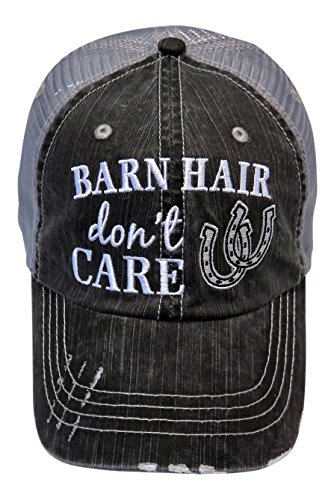 Embroidered Barn Hair Don't Care Distressed Look Grey Trucker Cap Hat Farm (White Horseshoe)