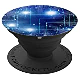 Computer Science Technology Blue Pattern - PopSockets Grip and Stand for Phones and Tablets