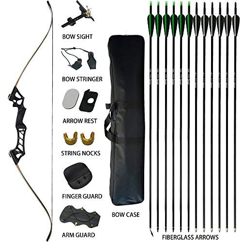 D&Q Takedown Recurve Bow and Arrow for Adults Kit 30 35 40 45 50 55 60 65 70lb Aluminum Alloy Riser Hunting Shooting Practice Competition Archery Longbow Set with Bow Case Right Hand