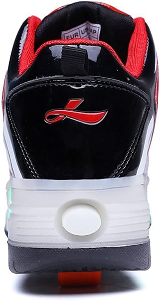 6KZMNA0Z0A Kids Boys Girls High-Top Shoes LED Light Up Sneakers Single Wheel Double Wheel Roller Skate Shoes