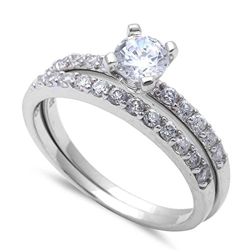 1ct Round Solitaire Set .925 Sterling Silver Ring Sizes 5