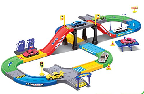Diecast Import Cars - Liberty Imports My First Speed Racing Assembly Playset - Includes 3 Diecast Cars