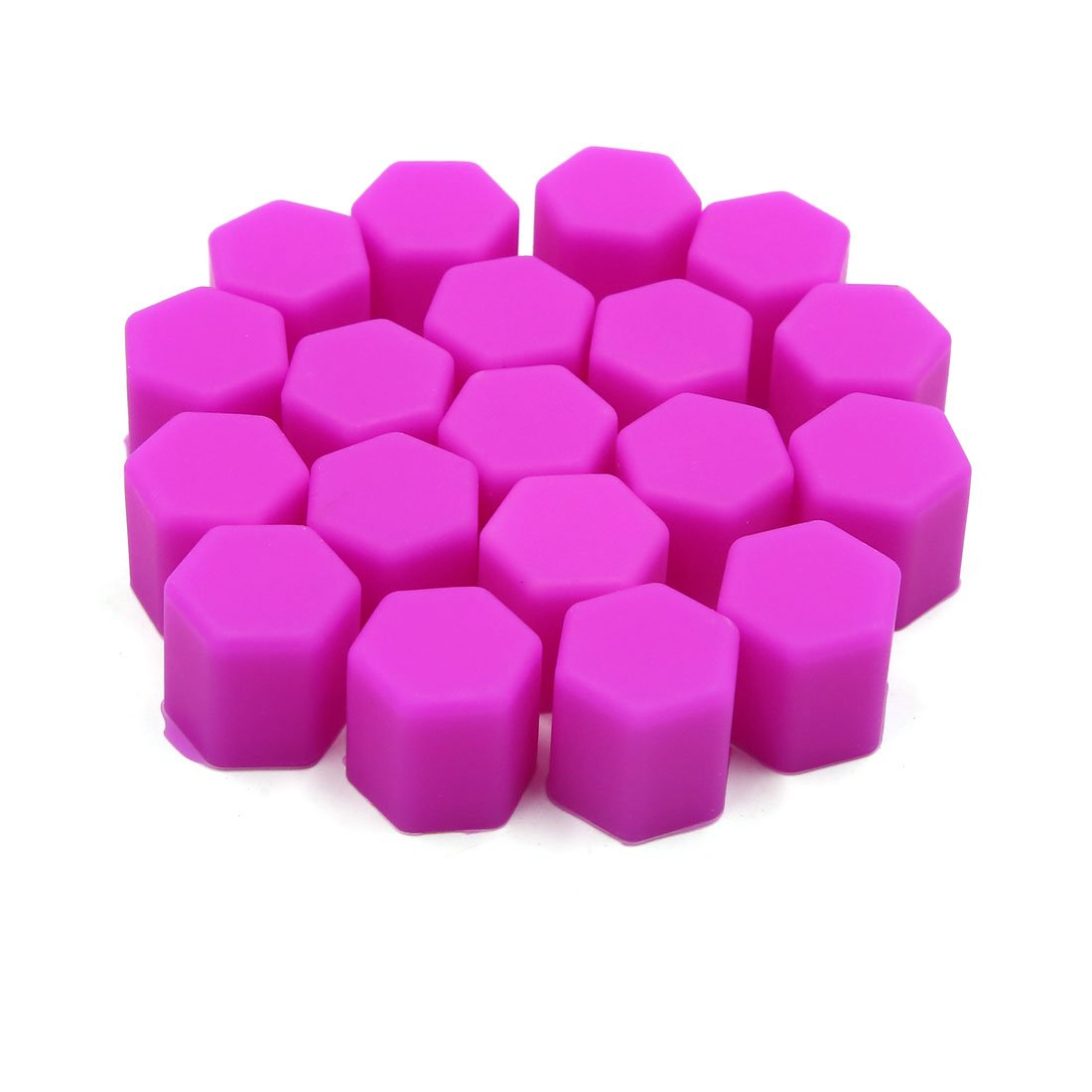 uxcell 20pcs 15mm Rubber Car Wheel Tire Tyre Nut Screw Cover Caps Hub Protector Purple