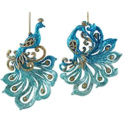 Sparkling Teal Peacock Hanging Christmas Ornaments - 2 Pack