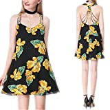 Casual Boho Floral Print Short Dress V-Neck Spaghetti Strap Style Sleeveless Dresses Black XL