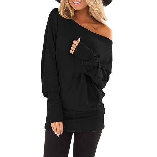 648d5eb5 YOMXL Women's Off Shoulder Tunic Tops Autumn Long Bat Sleeve Office Shirt  Pure Skew Collar Casual