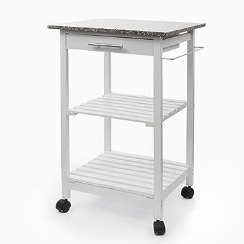 Carrito de cocina/Camarera - Carro auxiliar de cocina color blanco: Amazon.es: Hogar