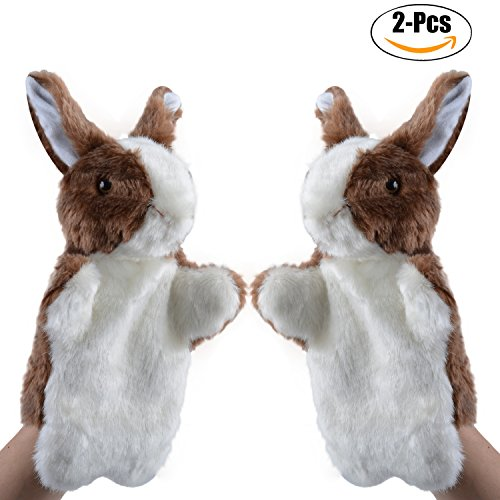 Rabbit Plush Puppet, Coxeer 2Pcs Animal Toys Cute Rabbit Hand Puppets Easter Bunny Toys for Kids (Stage Rabbit Puppet)