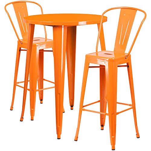 30'' Round Orange Metal Indoor-Outdoor Bar Table Set with 2 Cafe Stools by Alamont (Image #1)