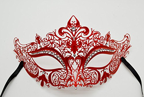 New Women Metal Mask Venetian Style Red Colorful Masquerade Mask Party