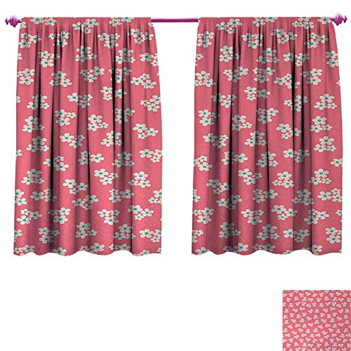 Anniutwo Country Home Waterproof Window Curtain Cute Little Daisies Bouquets Girls Bedroom Desgin Freshness Pink Backdrop Waterproof Window Curtain W96 x L72 Teal Pink White