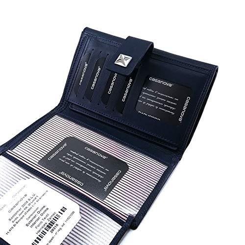 RFID 28318 Blau Handgemacht in Spanien Ccasanova Ubrique Leder Brieftasche und Kartenhalter Damenbrieftasche mit Geldb/örse
