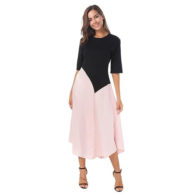 Zumine Women's Color Block Maxi Dress Half Sleeve Vintage Midi Dress (L, Pink)