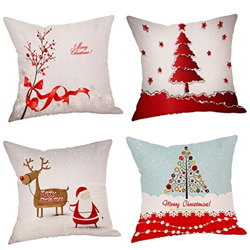 New Sale!4PC Pillow Cases ZYooh Cotton Linen Christmas Printed Throw Pillow Case Cushion Cover Cafe Home Party Hallowmas Christmas Decor (D)