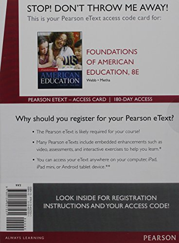 Foundations of American Education, Enhanced Pearson eText -- Access Card (8th Edition)