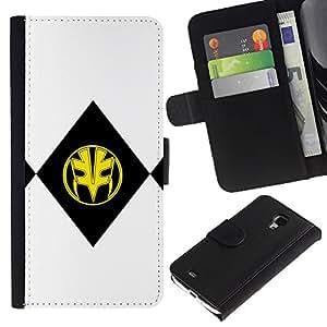 LECELL--Cuero de la tarjeta la carpeta del tirón Smartphone Slots Protección Holder For Samsung Galaxy S4 Mini i9190 -- NEGRO Y MÁSCARA AMARILLA --