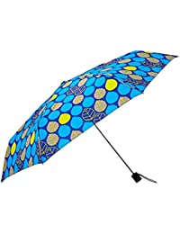 """Umbrella w/Grey Handle, Manual Open Close, 43"""" Coverage (Blue with Gray and Green Accents)"""