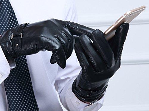 Icegrey Femmes Gants en Cuir Gants écran Tactile Cuir Gant D'hiver Texting Driving Motard Noir L