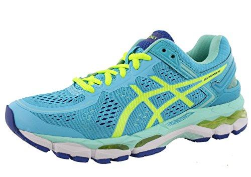 ASICS Women's Gel Kayano 22 Running Shoe, Ice Blue/Flash Yellow/Blue, 9 M (Flash Yellow Footwear)