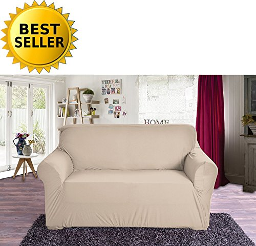 Elegant Comfort Collection Luxury Soft Furniture Jersey STRETCH SLIPCOVER, Loveseat Linen
