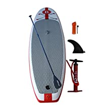 """Bright Blue SUP 10'6"""" Inflatable Stand-Up Paddleboards Package Set (Paddle,Pump Included), 6"""" Thick, Stand Up Paddle Board White/Red"""