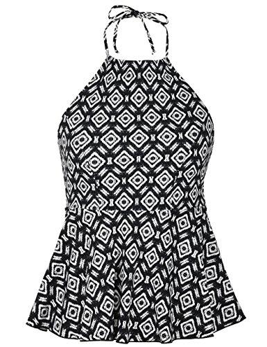 Hilor Women's High Neck Swimwear Halter Swimsuit Ruffle Hemline Tankinis Tops Argyle Pattern 14 - Halter Neck Suit