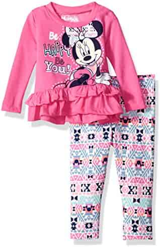 Disney Girls' Minnie Mouse 2-Piece Ruffle Top and Legging Set