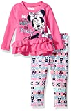 Disney Toddler Girls' Minnie Mouse 2-Piece Ruffle Top and Legging Set, Hot Pink Minnie, 4T