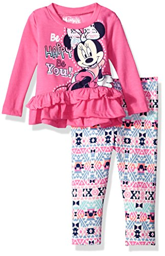 Disney Toddler Girls' Minnie Mouse 2-Piece Ruffle Top and Legging Set, Hot Pink Minnie, 3T (Kids Disney Clothes)