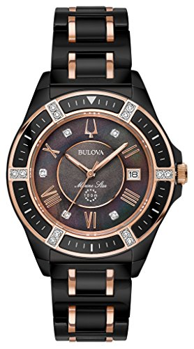 Bulova Women's Marine Star Black Ceramic Rose Goldtone Accents Bracelet Watch (Star Bulova Marine Collection)
