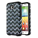 NextKin LG Optimus L70 MS323 Hybrid Dual Layer Armor Hard Silicone Skin Protector Cover Case - Black White Chevron Zigzag Marble/ Black